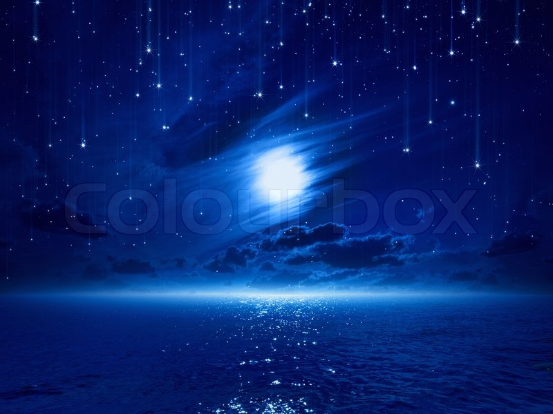 Pretty Anime Falling Angel Wallpapers 1920x1080 Hd Night Sky With Full Moon And Reflection Stock Image