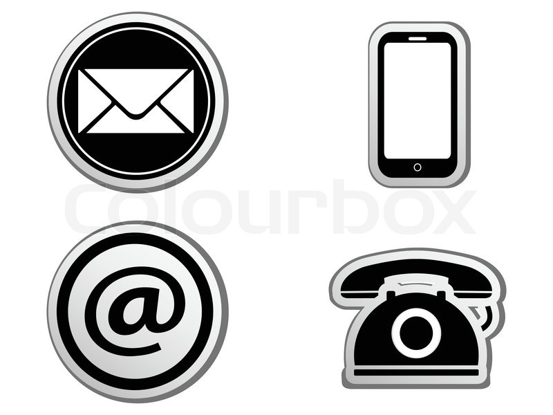 Isolated Contact icon buttons set from white background