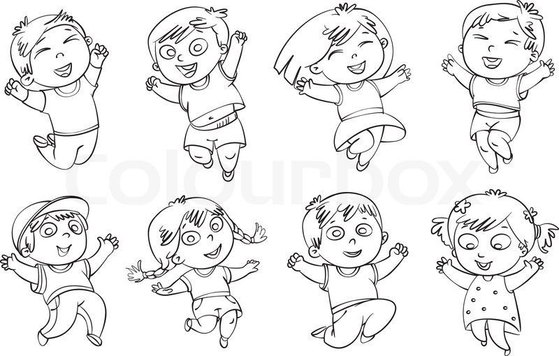Children jump for joy. Coloring book. Vector illustration
