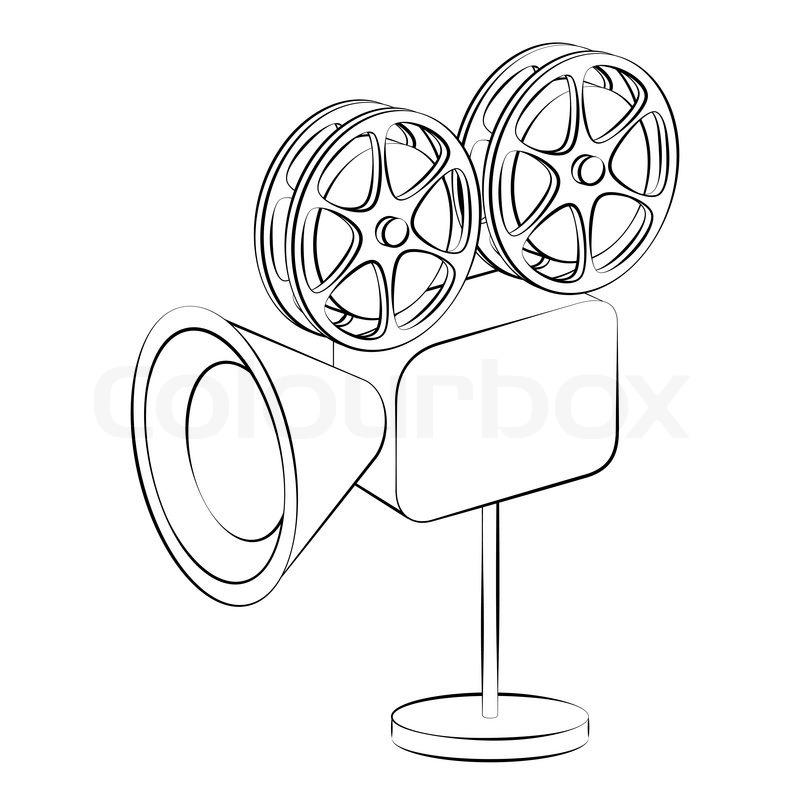 Black outline vector film camera on white background