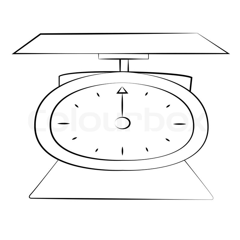 Black outline vector weighing machine on white background