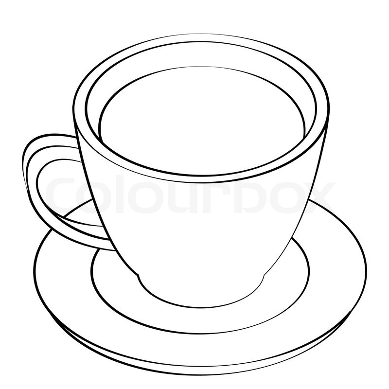 Black outline vector coffee cup on white background