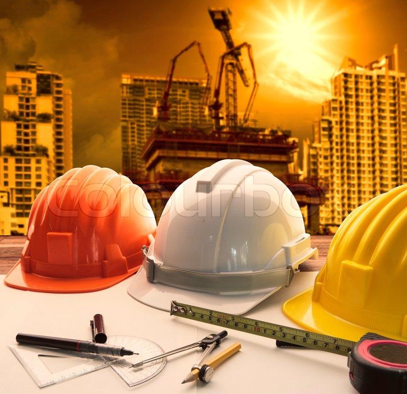 Safety helmet on architect engineer   Stock Photo  Colourbox