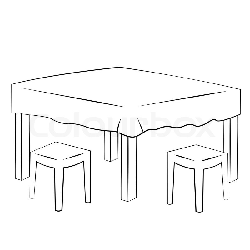 Black outline vector Dining table on white background