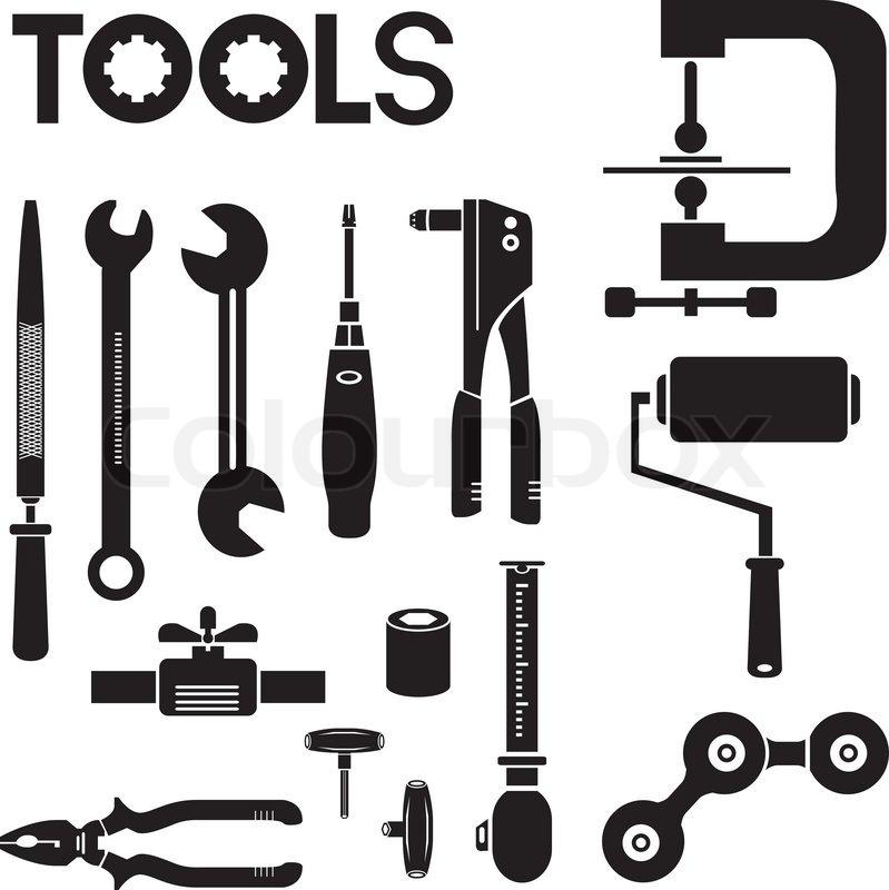 Tools, mechanical equipment icon set, engineering tools