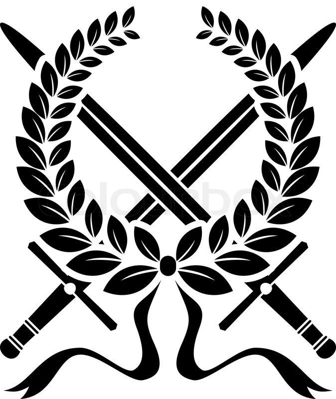 Victory wreath of laurel leaves with crossed swords, black