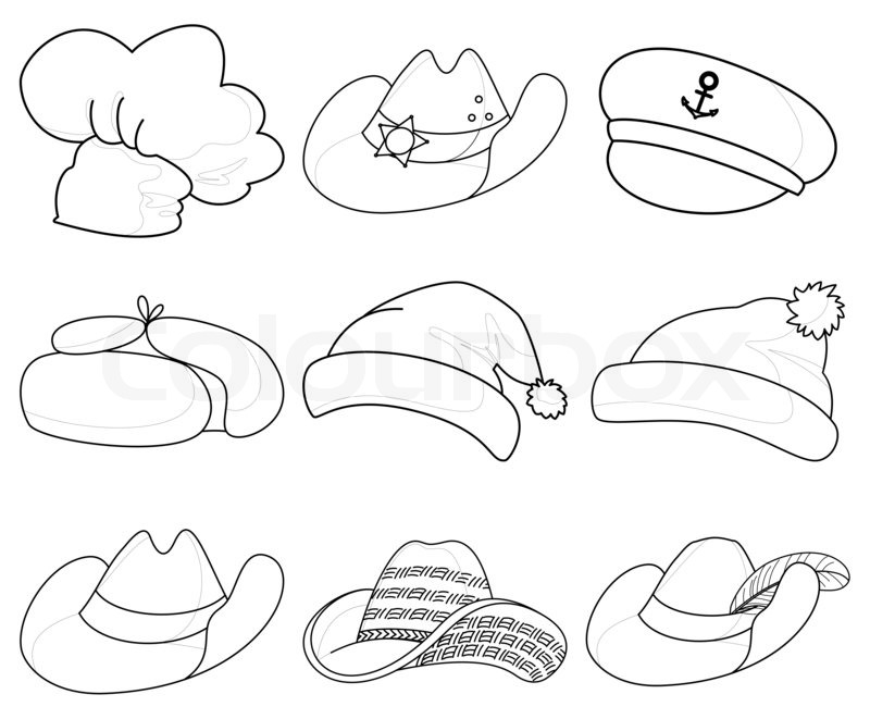 Set of various hats: Santa Claus, cook, sheriff, musketeer