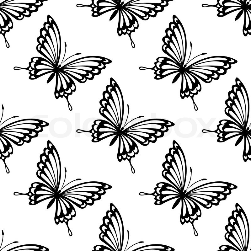 Black And White Ornate Seamless Butterfly Pattern Of