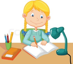 Cute Girl Studying Images Cartoon