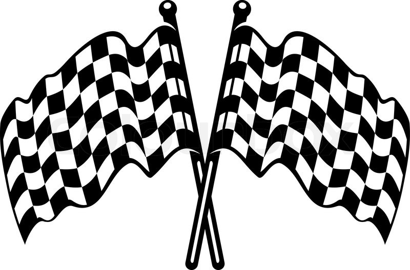 Two crossed black and white checkered flags with the