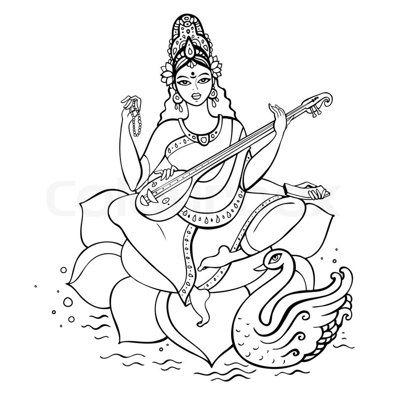 Simple Drawing Of Saraswati
