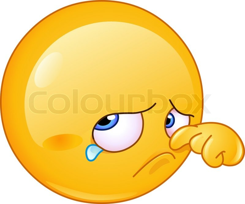 sad emoticon wiping tear