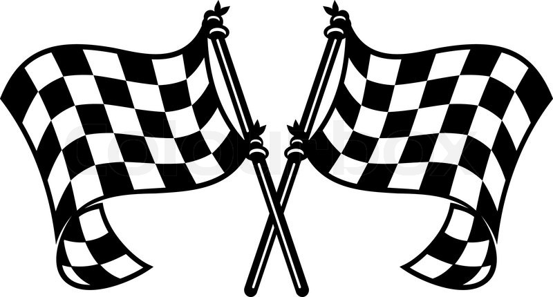 Black and white checkered motor sports flags curling in