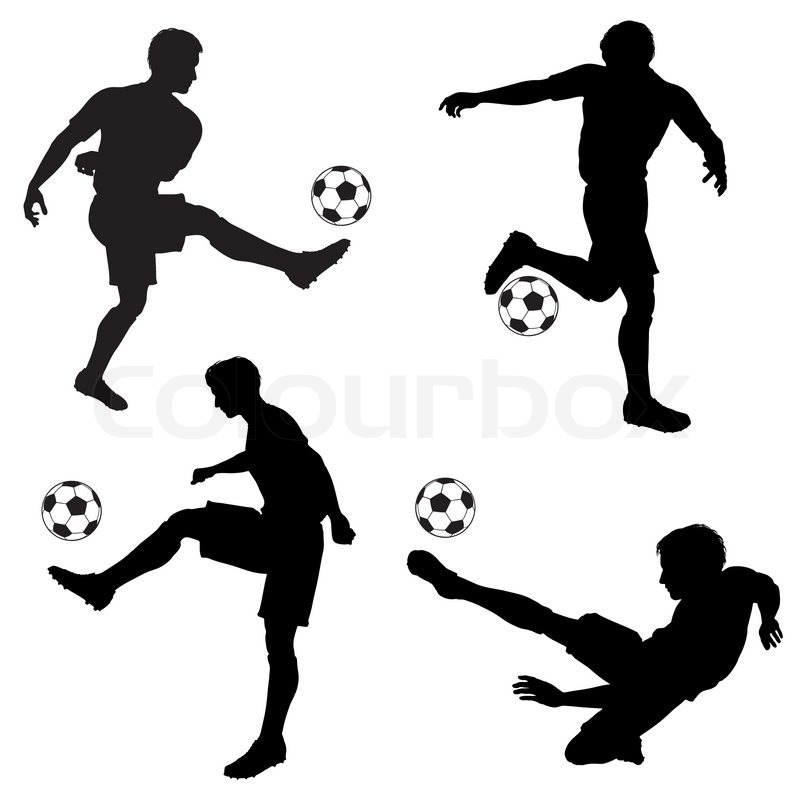 Set of Silhouettes of Soccer Players in various Poses with
