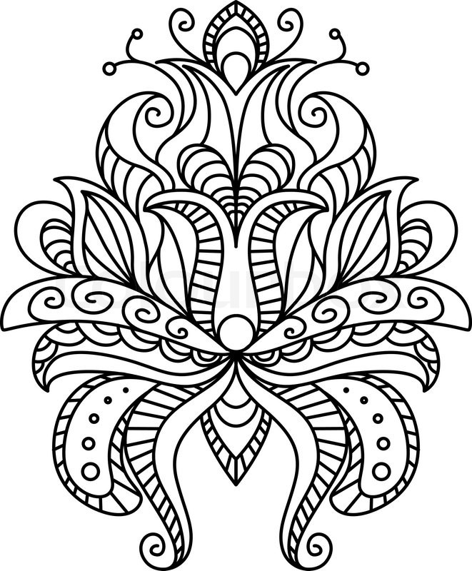 Ornate paisley floral element in a black and white line