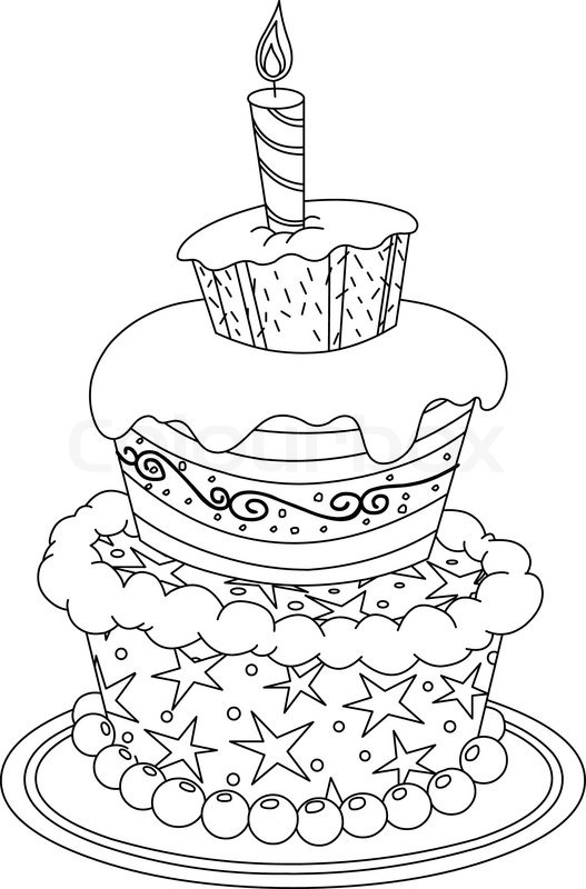 Outlined birthday cake. Vector illustration coloring page