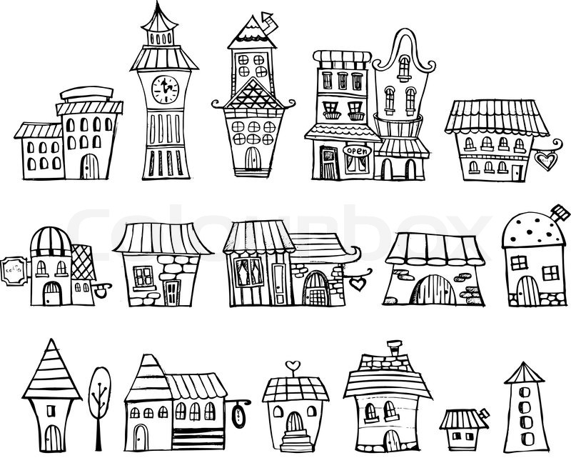 Cartoon vector fairy tale drawing houses. Series separate