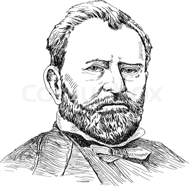 Hand drawing portraits of Ulysses S. Grant model from