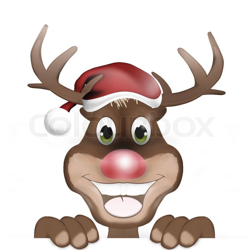 Rudolph With Christmas Hat And Happy Smile Stock Photo