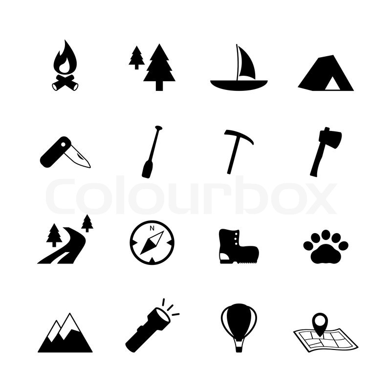 Outdoors tourism camping pictograms collection of compass