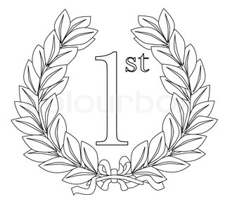 A wreath with ribbon celebrating a 1st prize event such as