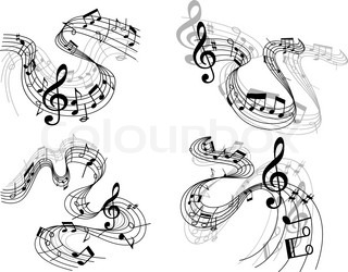 Music notes with clefs on swirling staffs or staves