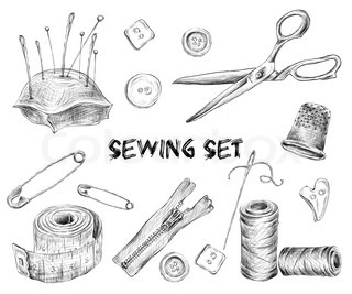 Sewing sketch set with tailor tools needlework and