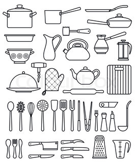 Set of silhouette kitchen utensils and collection of