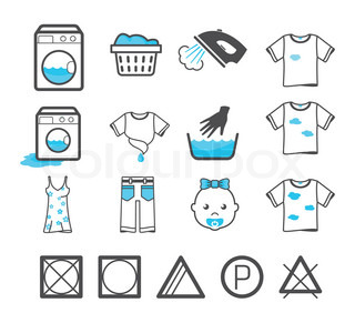 Laundry icons set. Clothing care and washing signs