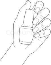 female hand with manicure holding