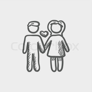 Loving couple sketch icon for web and mobile. Hand drawn