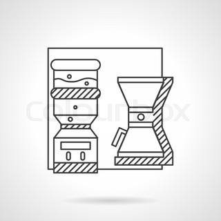Flat line design vector icon for water cooler and coffee