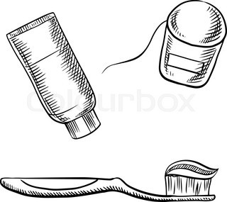 Toothpaste tube, toothbrush and dental floss sketch icons