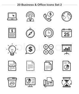 Business & Office icons set 2, Line Thickness icons An