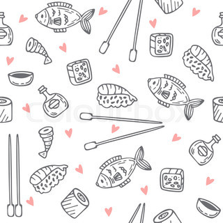 Sushi and rolls seamless pattern. Sushi texture. Hand