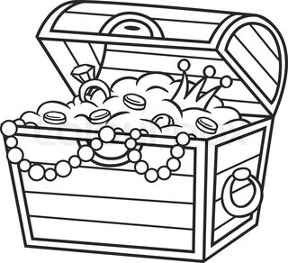 Coloring book .Treasure chest full of gold and jewels