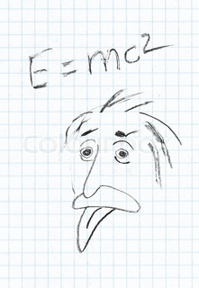 The genius Albert Einstein show tongue. Sketch on sheet in