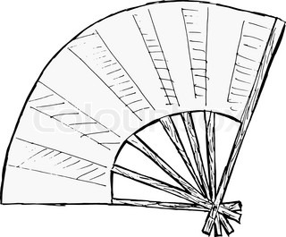Illustration of the small fan with blue blades stock vector