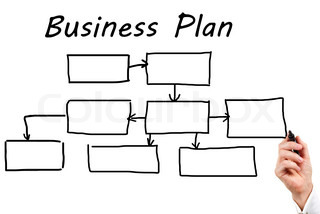 Man in a business suit makes a block diagram on a