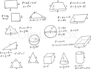 Background with hand written geometry formulas and