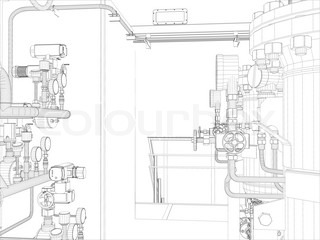Industrial equipment. Wire-frame. Vector EPS10 format