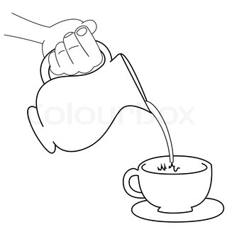 Black outline vector pour water on white background