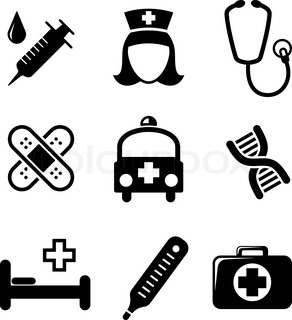 Set of black and white medical icons including a syringe