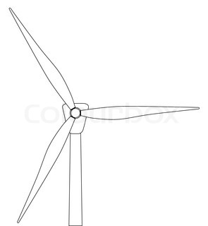 Black and white line drawing of a typical wind turbine