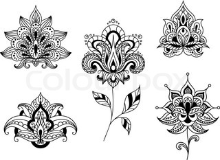 Ornate calligraphic black and white floral motifs of
