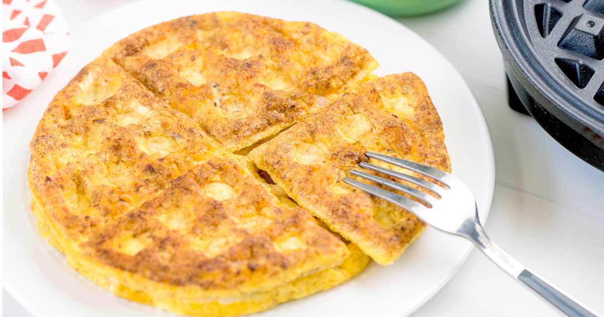 4-Ingredient Omelette Made in a Waffle Maker   Hungry Girl