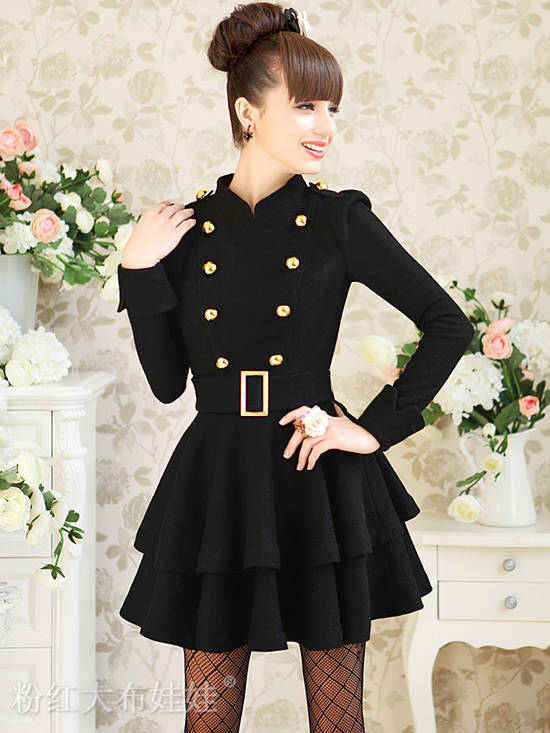 Black Double-breasted Collect Waist Woolen Dress