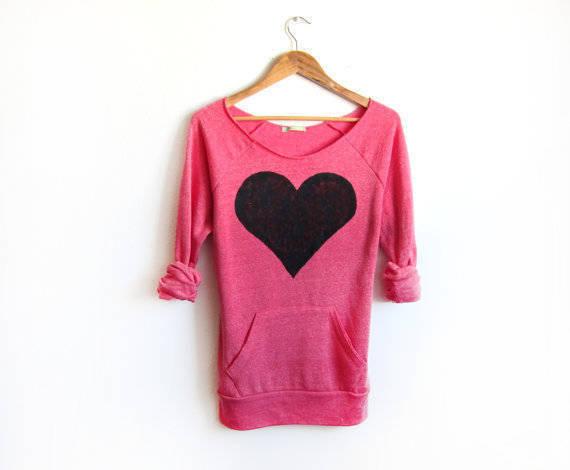 Black Heart Hand STENCILED Deep Scoop Neck Heather Artist Series Sweatshirt in Deep Pink - S M L XL