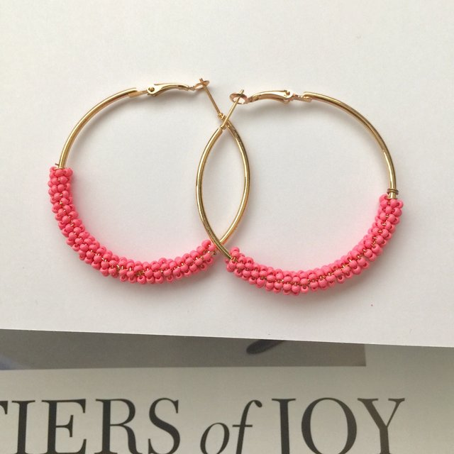 Beaded pink hoop gold plated earrings, Trendy pink beaded gold hoop earrings , earring ,hoop earring
