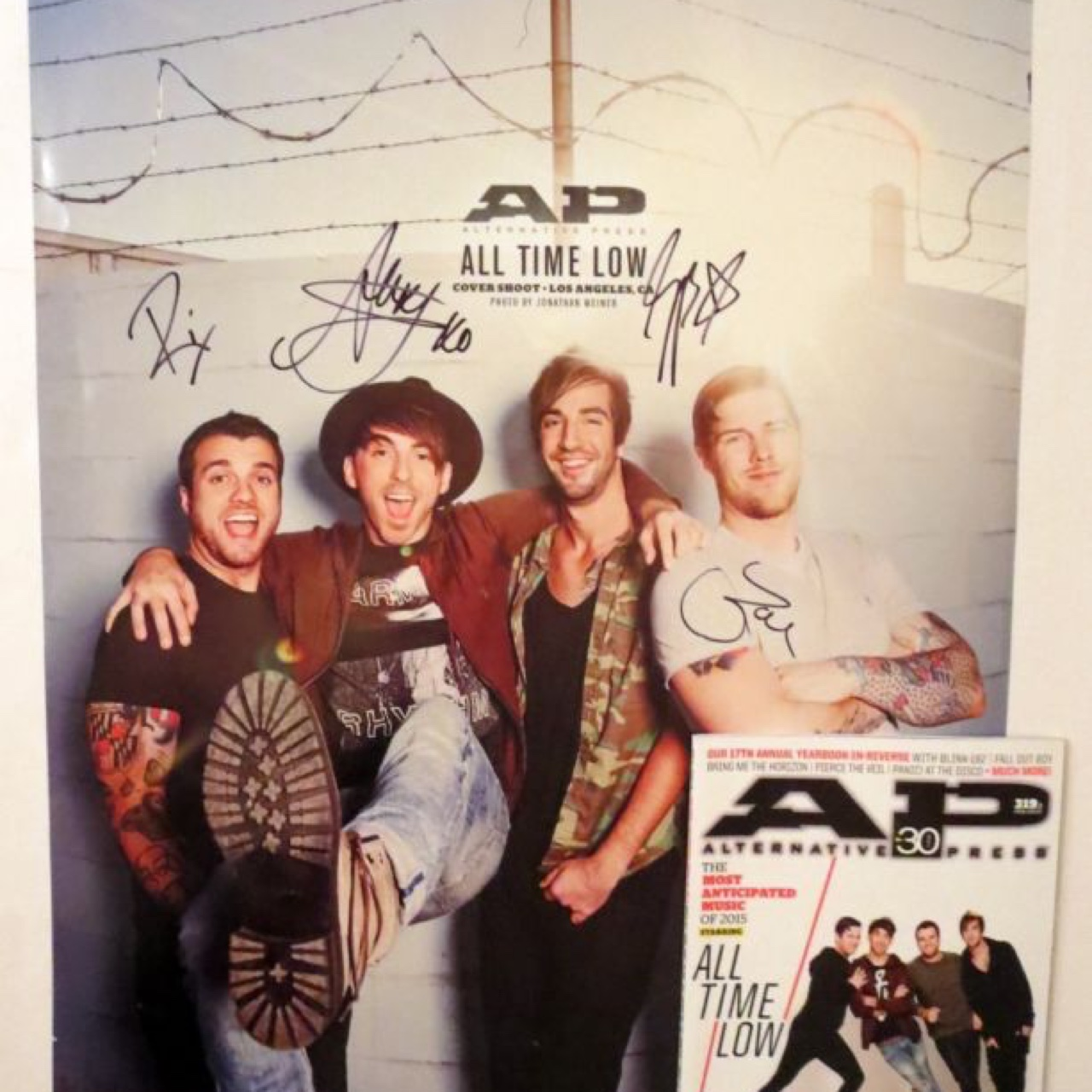 rare genuine signed all time low band poster signed